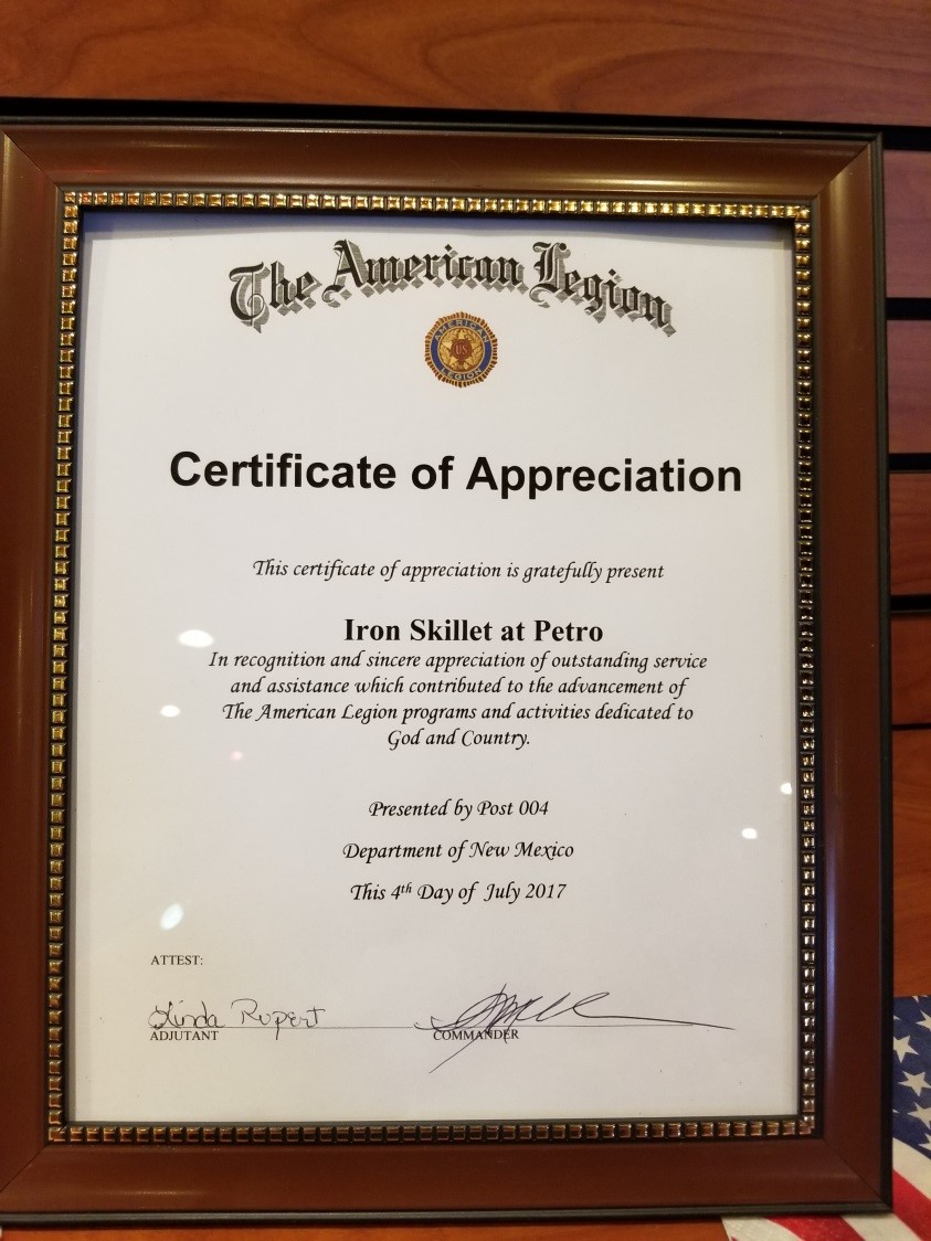 Certificate of Appreciation from The American Legion